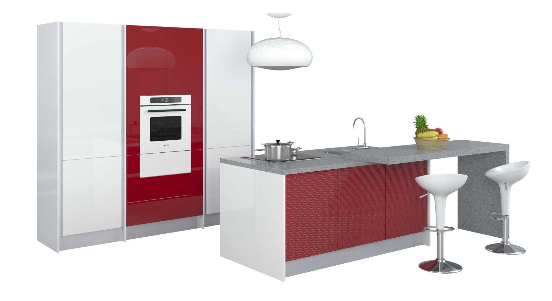 Красно-белые кухни