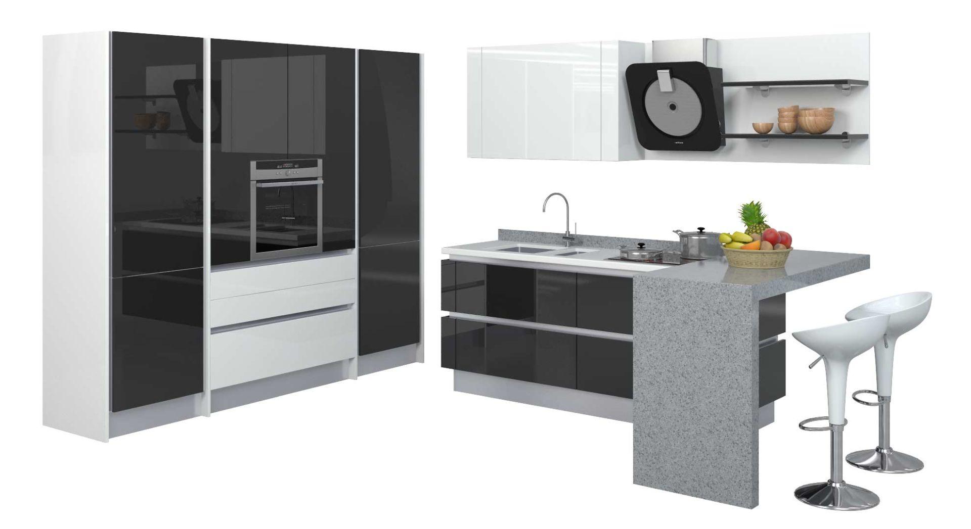 черно белая кухня дизайн фото столешница фартук техника